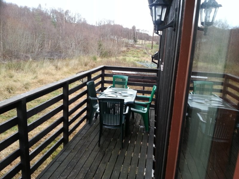 Decking balcony with woodland views