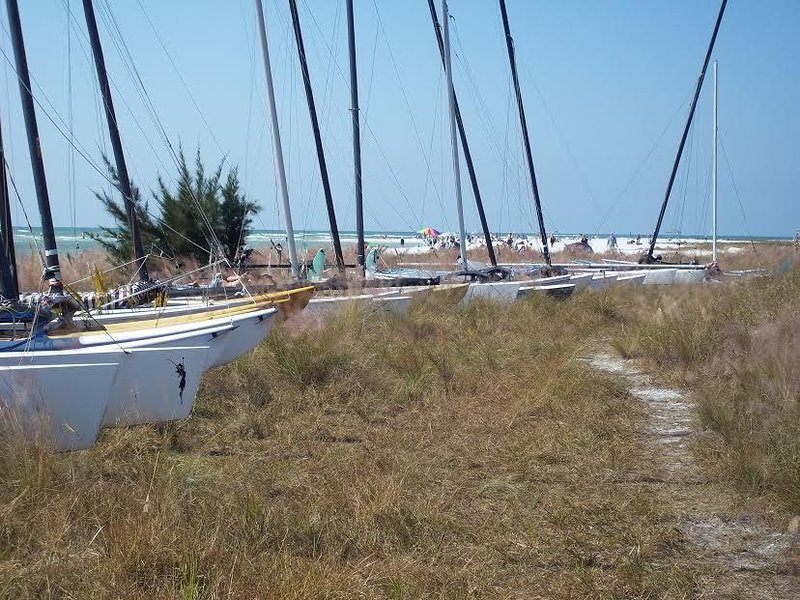 Catamarans at Access 8 across the street from the Bungalow.