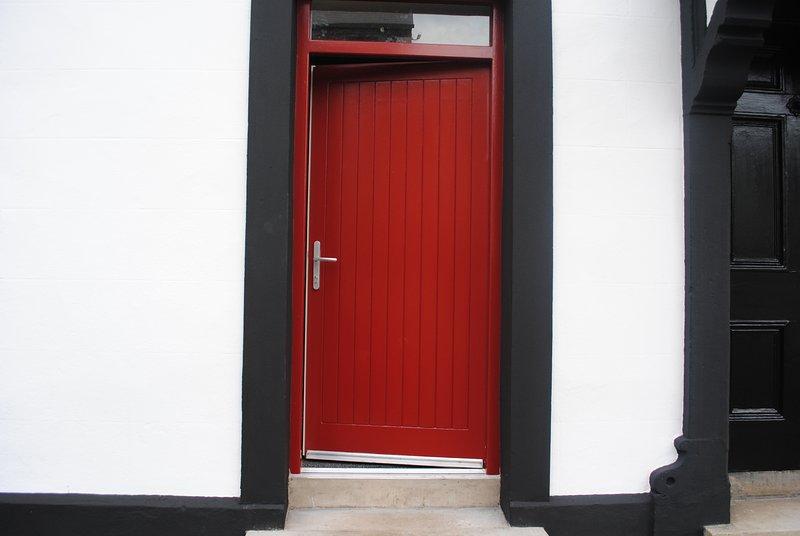 The red entrance door