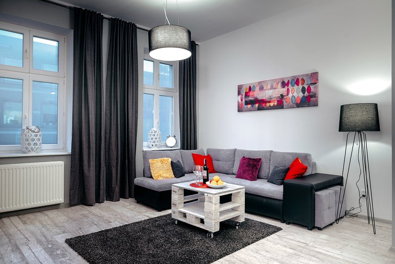living room with sofa bed (sleeping 240cm length)
