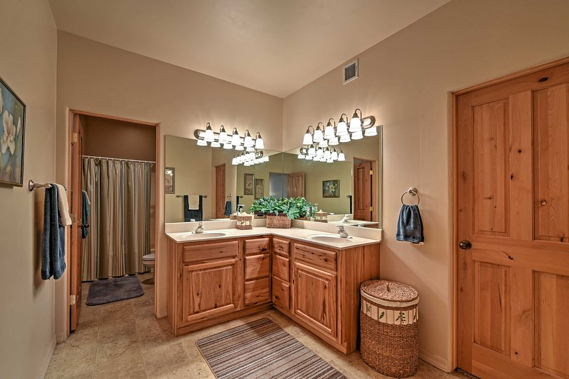 Plenty of space for the group to get ready at this vanity!
