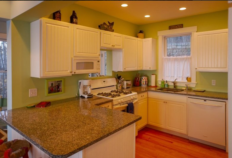 Modern kitchen with beadboard cabinets and granite