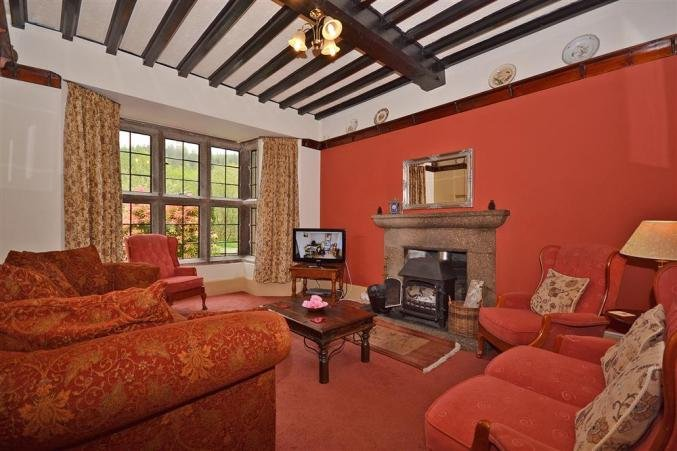 The spacious living room with woodburner