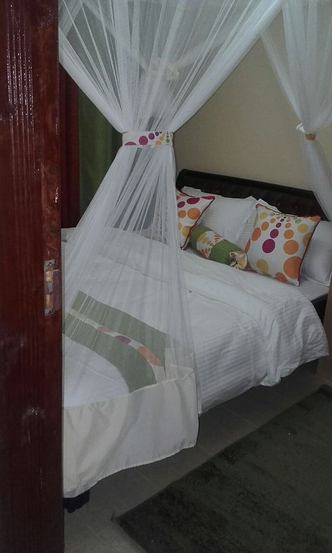 Comfortably set with mosquito net protection and adequate closet for your clothes &belongings. Enjoy