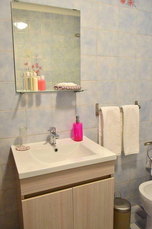 Bathroom with a bath and a shower
