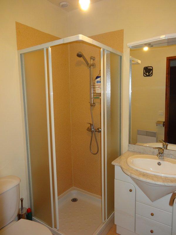 Badrum med dusch, handfat i vanitory enhet och toalett.