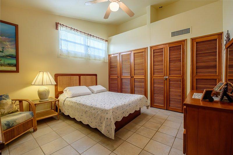La chambre principale avec lit queen! Il y a beaucoup d'espace de rangement pour tout ce qui vous est proposé!