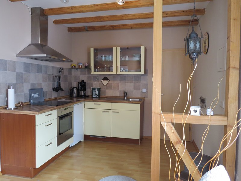 Fully equipped kitchen, there is also a small freezer