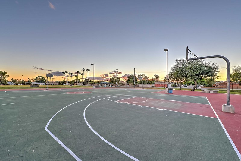 Go out to the basketball court and challenge your friends to a game of hoops.