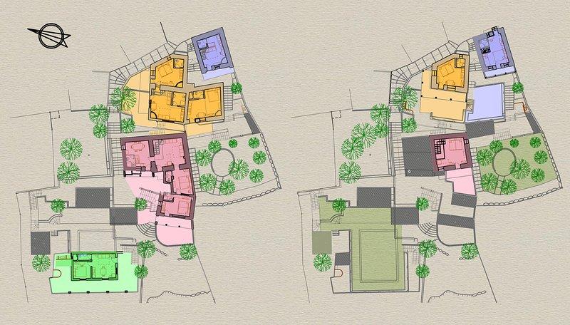 ESPÓRADES SEDRET privadas em geral. Mudas nos pisos de terra e pisos superiores. áreas comuns em verde.
