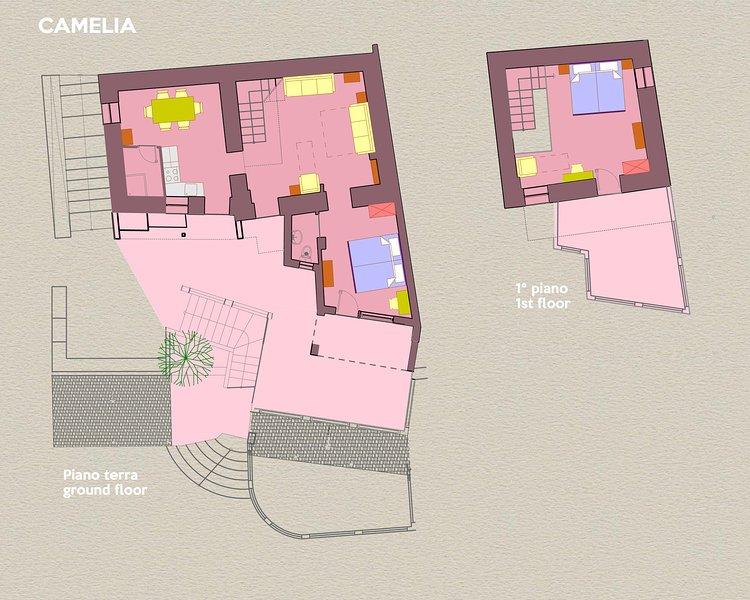 Villa CAMELIA. O layout da casa, no piso térreo e primeiro andar, com seus aparelhos.