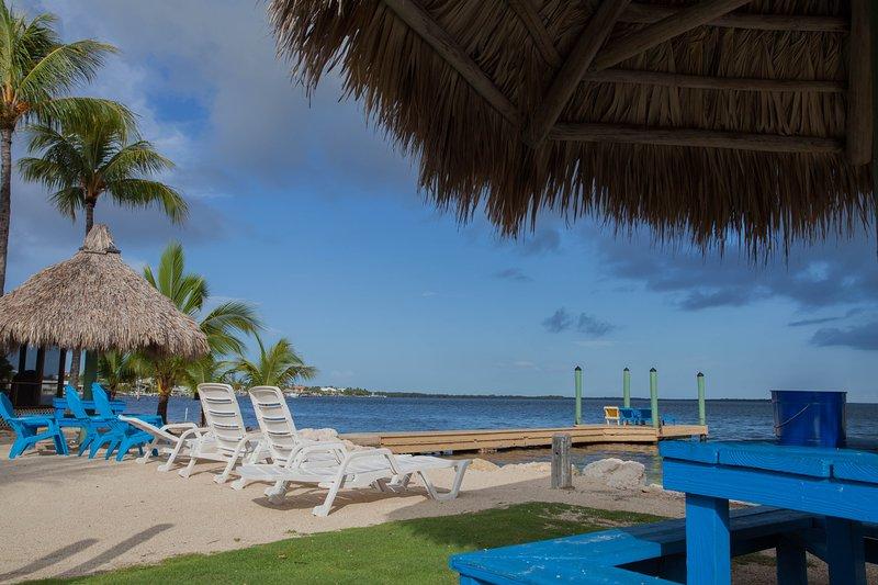 Beach with sun bathing dock