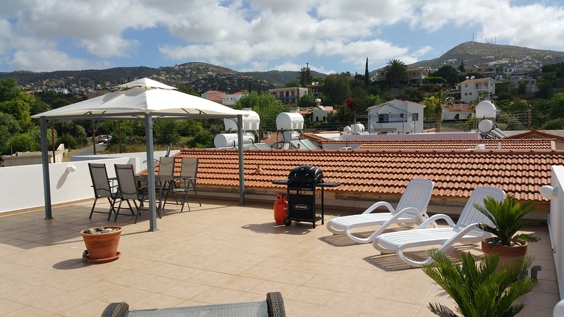 Dining, BBQ, Sun loungers and the beautiful Tala village in the background