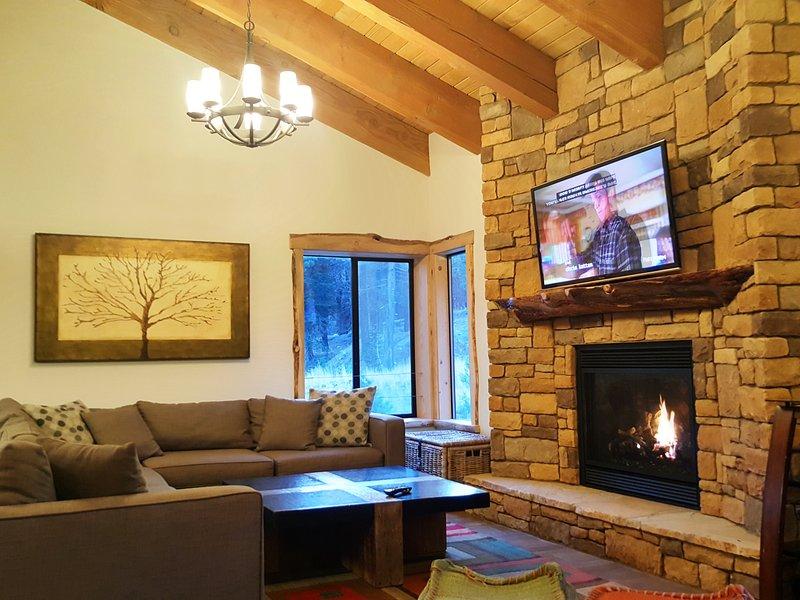 """Le immagini del Village Treehouse # 1 grande camino """"Comodo, accogliente, delizioso"""" i nostri ospiti hanno detto"""