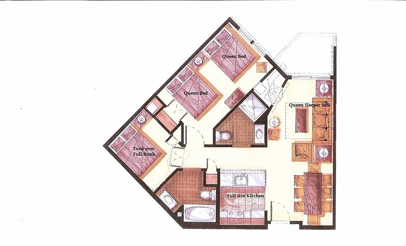 A floor plan to another unit in the same complex. 1st floor and same decor. Email for availability