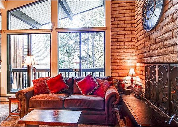 Van vloer tot het plafond ramen die fleuren de Living Room