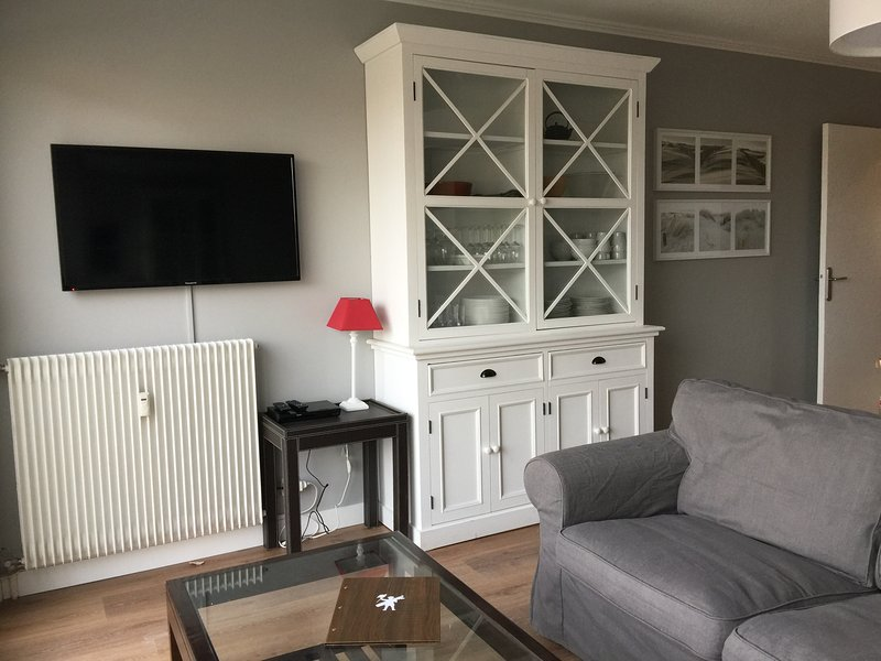 Living room with large flat screen and Blu-Ray / DVD Box SFR with wifi and unlimited phone