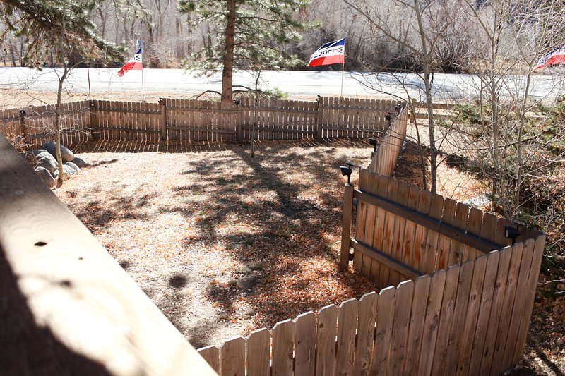 The fenced in yard on the front of Mt. Columbia Chalet is perfect for pets and kids