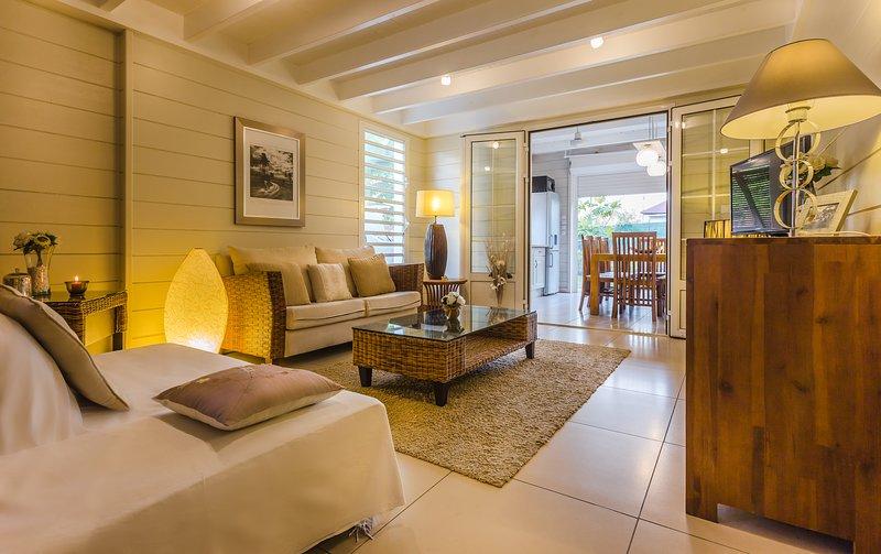 indoor lounge opening onto the veranda