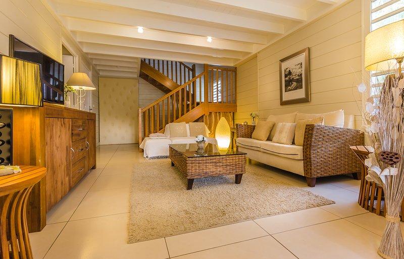 indoor lounge, TV and WIFI optical fiber.