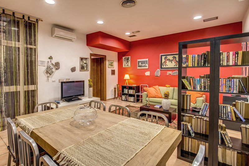 our large living space with international library, tv lcd, air conditioning and air extractor