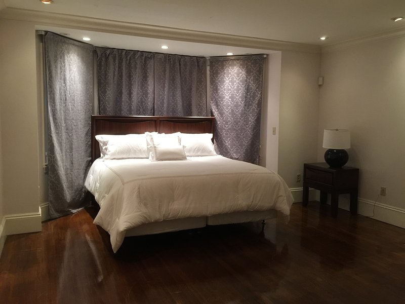 Large 400 sq ft bedroom with king bed overlooks Beacon Street.