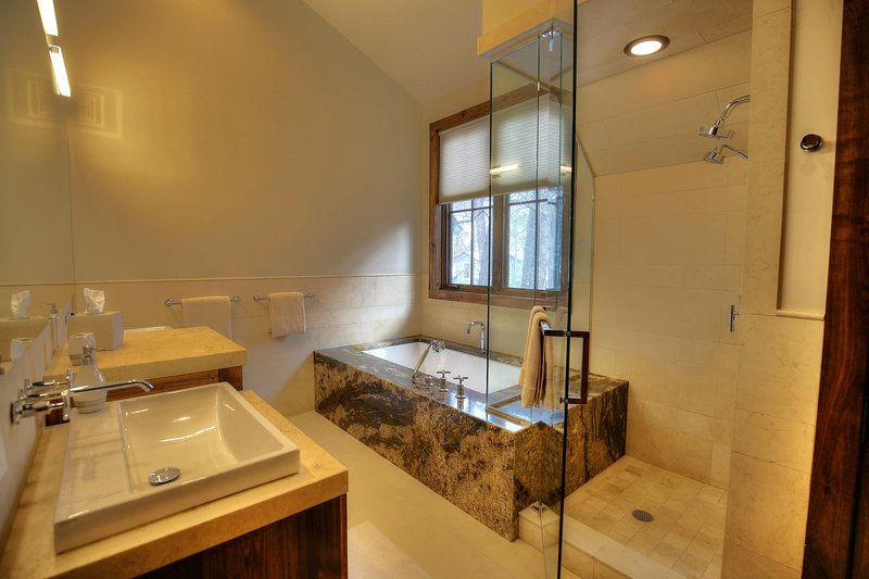 Master Bathroom: Large soaking tub, Shower with Steam, Double vanity sinks + Washer & Dryer