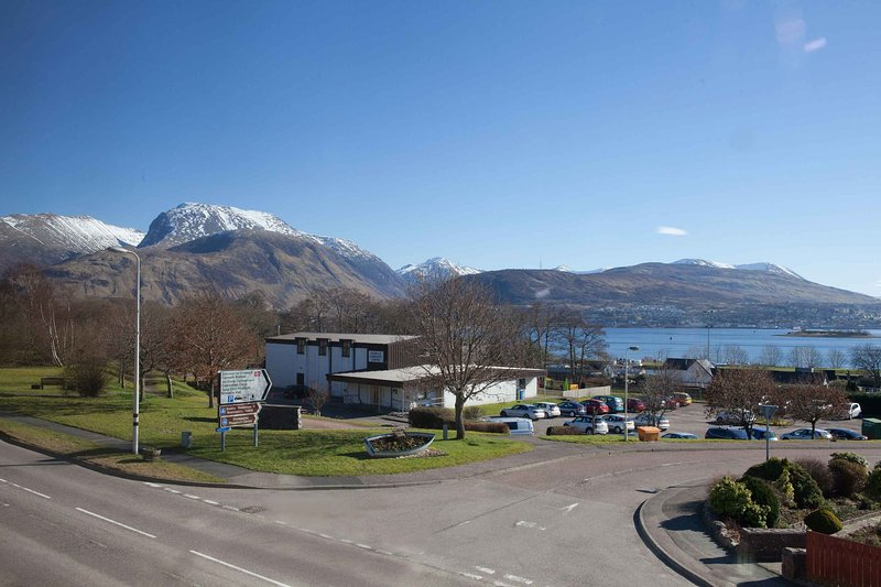 Amazing backdrop of Ben Nevis & Loch Linnhe, taken from first floor of our building