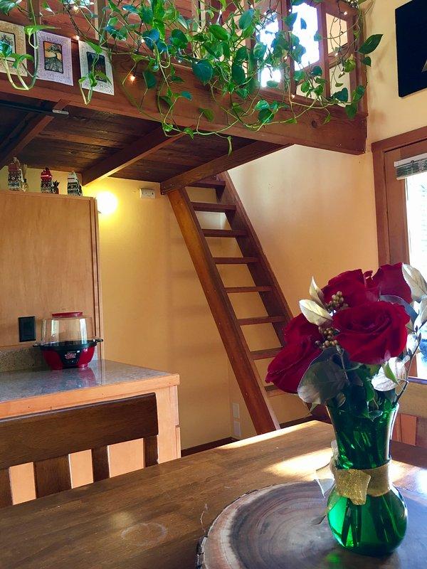 La camera da letto soppalco sovrasta la cucina e vi si accede da un ship's-scala.