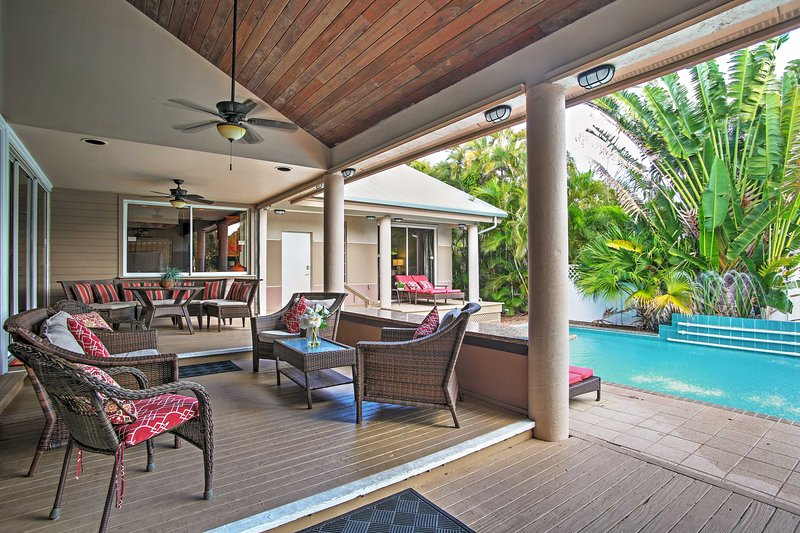 You'll love spending time by the private pool at this 5-bedroom, 4-bath home.