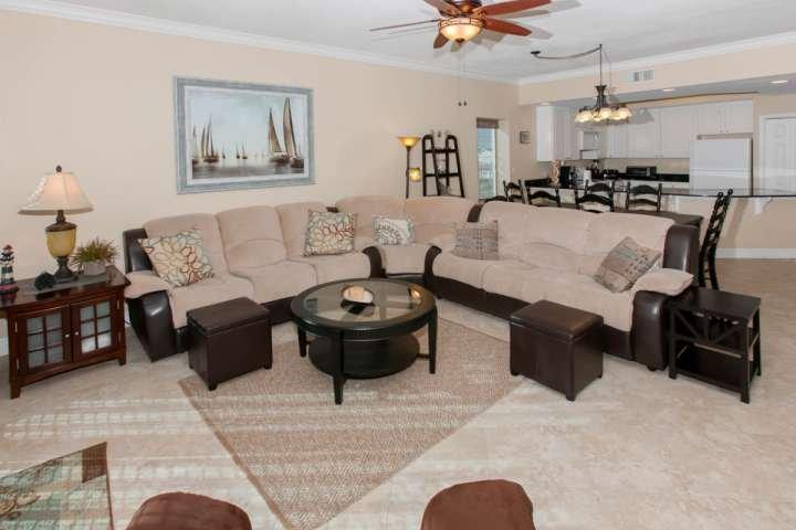 Living room with large sectional sleep sofa