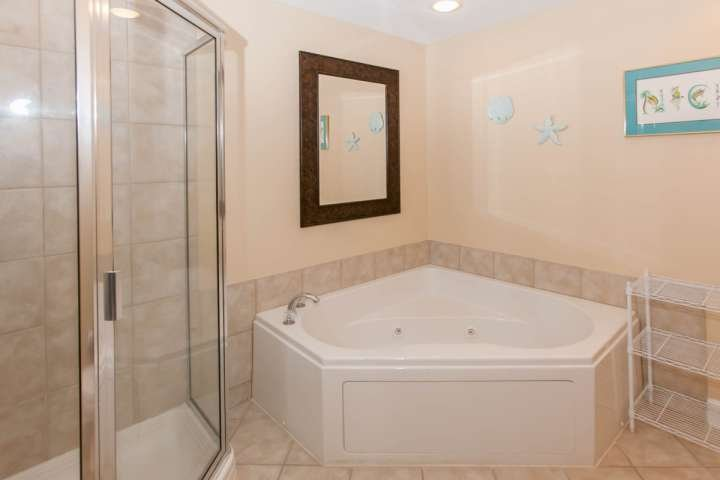 Master bath with corner jetted tub