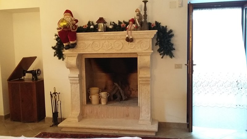 fireplace with Christmas decoration downstairs