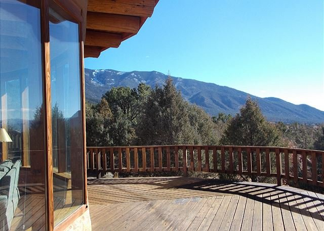 View from large deck to Taos Mountain