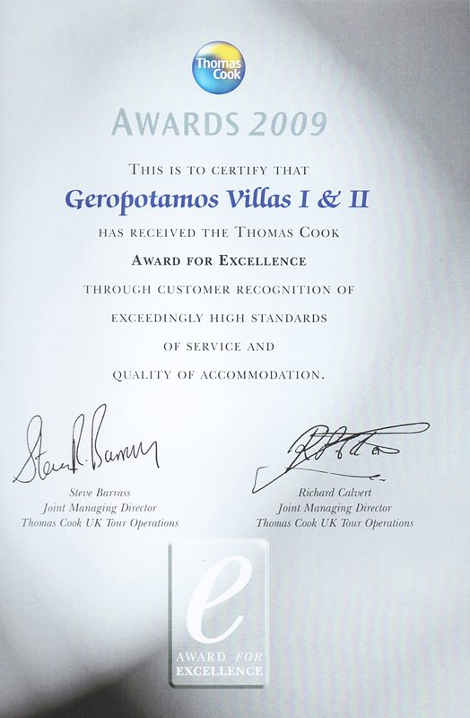 The Villa has beed awarded for the services , as well as the high quality accommodation provided!