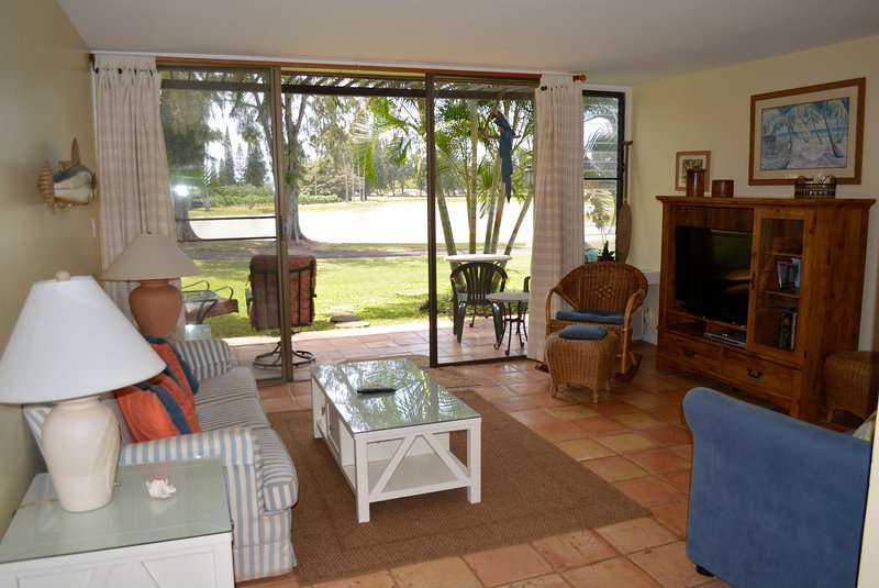 Living room & view of Fazio Golf Course