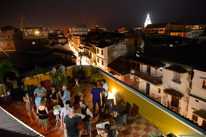Stunning views of Old Cartagena!  Los Balcones rooftop deck as viewed from observation tower!