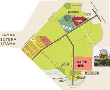Locatie op de kaart van de roeping Home naar Sutera Shopping Mall