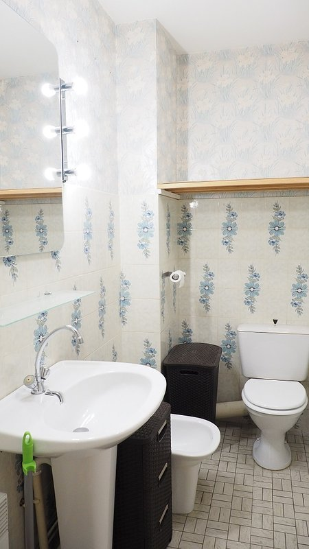 Bathroom with bath, shower attachment, bidet, wc and sink