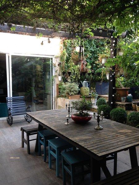 Exterior: patio y jardín