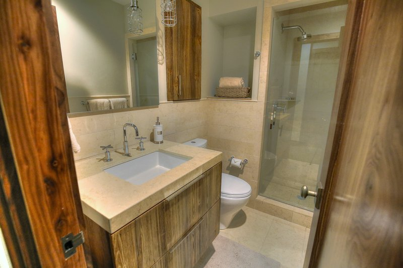Shared full bathroom (basement level) shower only + single vanity sink