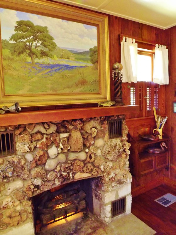 While the fireplace is non-functioning, we really enjoy the unique antique rock work.
