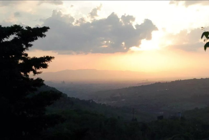 Sun set view from property: dome of Florence cathedral in the distance