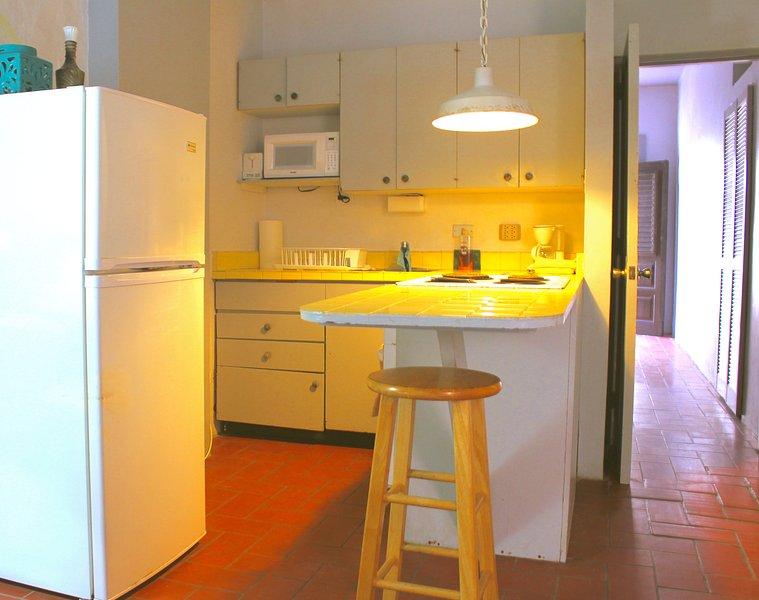 La cocina completa con horno, nevera, microondas, tostadora, cafetera, y lavabo