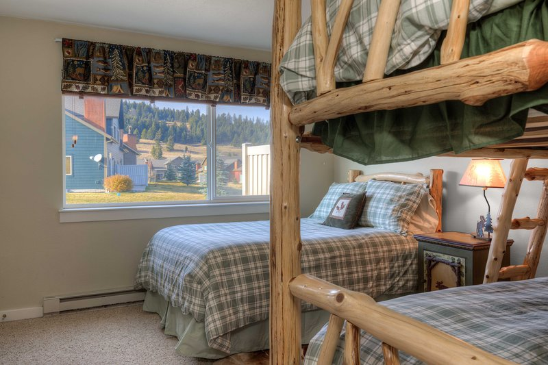 Guest Bedroom Full and Twin Log Bunk Bed First Level.
