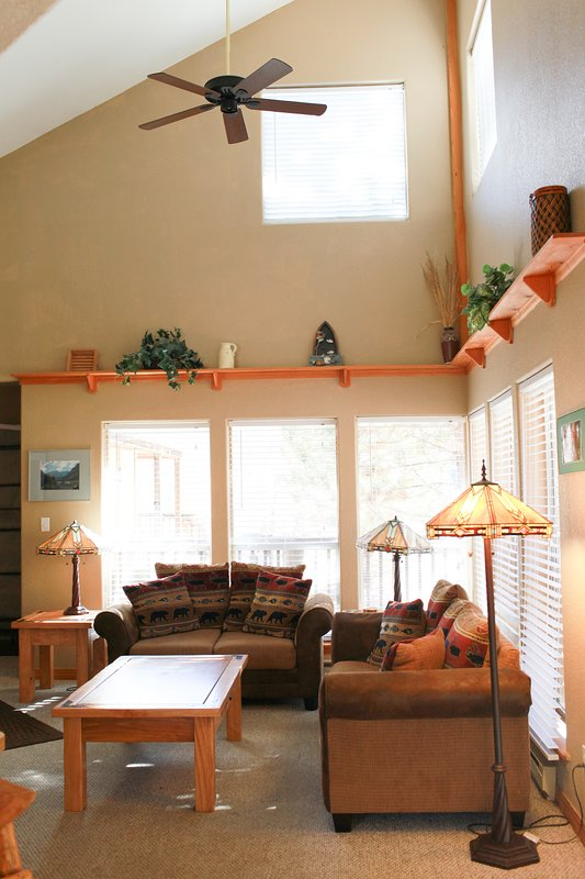 The vaulted ceilings, natural light and cozy fireplace make this an enjoyable space to spend time