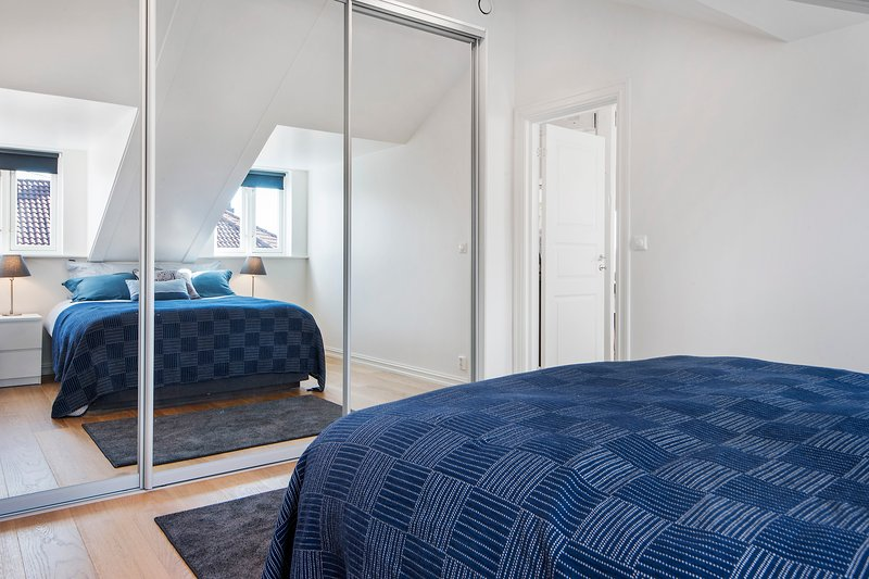 Main spacious bedroom with a large wardrobe with mirror glass