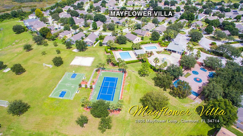 Mayflower Villa's amenities from up above!