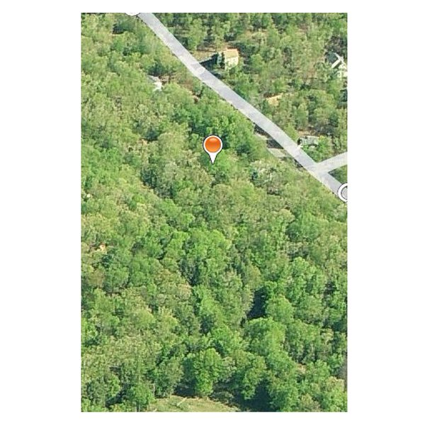The house location on the wooded lot.