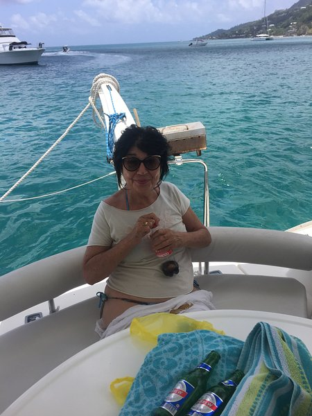 Enjoying a day out at sea on Calypso.